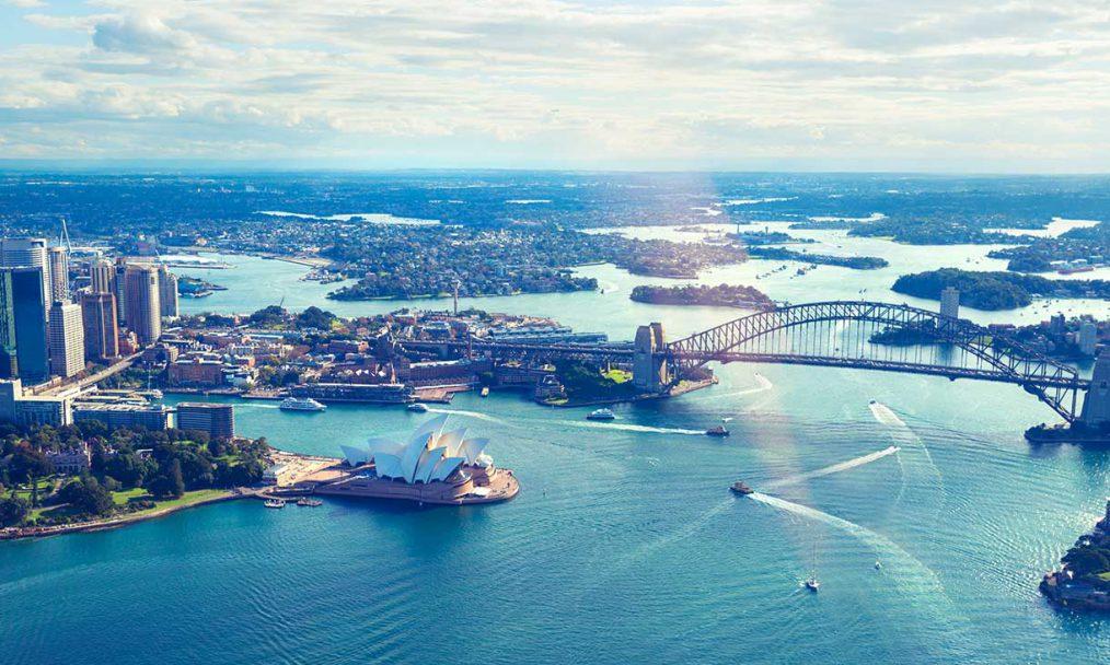 Aerial view of Sydney Harbour Australia